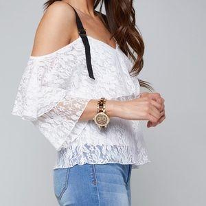 """""""Summer Sale""""☀️Bebe white, lace, shoulder shirt"""